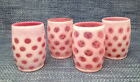 4 Lot Fenton Glass Coin Dot Cranberry Opalescent Old Fashioned Tumblers 4 1 8