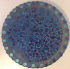 Mosaic Stained Glass Blue Candle Holder Base Large Multi Shade VERY NICE