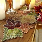 BEADED FALL AUTUMN LEAVES THANKSGIVING TABLE RUNNER 36X13 GREEN GOLD RUST NWT