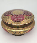 LARGE ANTIQUE MOSER CRANBERRY GLASS ENAMELED BOHEMIAN JEWELRY TRINKET BOX CASKET