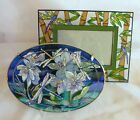 Beautiful Hand Painted AMIA Oval Glass Dragonfly Sun Catcher  Picture Frame Set