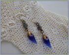 Vintage Micro Mosaic Earrings Sapphire Blue Glass Faceted Crystal Drops