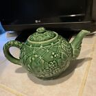 Vintage Teapot Tiffany  Co Green Majolica Floral Made in Portugal FLAWED