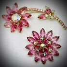 TWO 2JULIANA DEPINK FLOWERS ABNAVETTE RHINESTONEBROOCH PINSET LOT