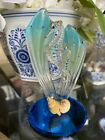 Glass Baron Double Sea Horses Blue Glass Gold Trim Crystals