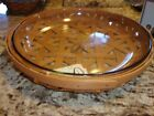 LONGABERGER RARE LOW BOWL TRELLIS OPEN TOBACCO WEAVE BASKET WITH GLASS DISH