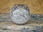 VINTAGE BOHEMIAN QUEEN LACE CZECH HAND CUT 24 LEAD CRYSTAL ROUND FISHBOWL VASE