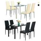 Glass Metal 5 Pieces Dining Table Furniture Sets 4 Leather Chairs Breakfast Nook