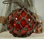 VINTAGE GLASS FISHING FLOAT IN RED 10