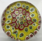 Lovely Yellow Red Millefiore Glass Art Paperweight Sphere Flower approx 8cm
