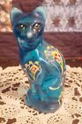 Beautiful Collectible Handpainted Fenton Cat Blue Lagoon color Paisley pattern