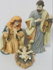 Vintage 3 Piece Nativity Set Porcelain Holiday Time Large 9 Size Hand Painted
