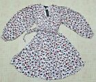 Banana Republic Satin puff sleeve fit  flare White Red Floral dress XS 99