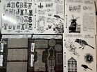 Lot of 6 Tim Holtz Stampers Anonymous Bird Alphabet Paris Road Trip Stamps