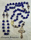 XL Vintage Style Cobalt Blue Glass Rosary Gold OR1957c