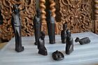 African Art Africa ebony hand carved wood 8 pieces NATIVITY set Christmas