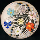 Beautiful Murano Art Glass Paperweight with Swirling Lattice  Large Floating Fl