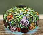 Tiffany Style Stained Glass Roses Leaves Scalloped Edge Lamp Shade 18 x 11 1 2