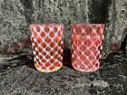 Pair Victorian Cranberry Glass Ribbed Opalescent Lattice Tumbler