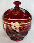 Fenton Art Glass Hand Painted Floral Fantasy On Ruby Colonial Candy Box