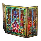 Tiffany Style Stained Glass Fleur de Lis Fireplace Screen 44W x 28H