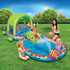 Banzai Shade N Slide Turtle Inflatable Kiddie Splash Pool Set with Sprinkler