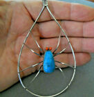 Native American Turquoise Coral Eyes Spider Sterling Silver Teardrop Pendant 4+