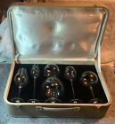 VINTAGE MOSER GLASS CLUB PHYSIOGNOMICAL TOASTING SNIFTERS SET W CASE MEDIUM
