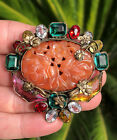 ANTIQUE Art Nouveau Czech Carnelian Molded GLASS RHINESTONES Brooch Pin