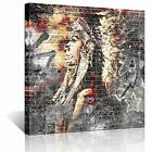 Native American Indian Canvas Wall Art Paintings Woman on Brick Wall