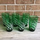 Vintage ANCHOR HOCKING GREEN GLASS Glasses Lily Of The Valley Flowers SET OF 6