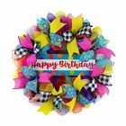 Birthday Wreath for Front Door Family Happy Birth Day Decor Pink Red Blue
