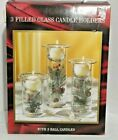 NIB Set of 3 Christmas Glass Candle Holders Pine Leaf Holly Berries Decoration