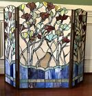 Tiffany Style Stained Glass 3 Panel Fireplace Screen 40 x 33