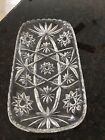 Vintage Cut Glass Gorgeous large Condiment Dish Star Burst Pattern Relish Tray