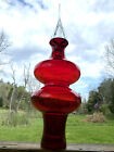 Blenko Glass Ellipse Tall Decanter Ruby With Crystal Stopper 7119