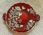 Vintage Ruby Red HEAVY Pressed Glass Plate with Handles Poppies Silver Overlay