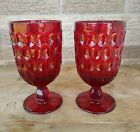 SET OF 2 FENTON GLASS THUMBPRINT RUBY RED ICE TEA FOOTED GOBLETS 65 tall 13oz