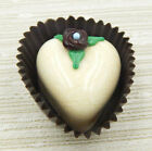 Hulet Glass Heart Shaped Vanilla Candy with Flower Handmade 14 039VC