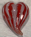 Red and White Ribbon Glass Heart Shaped Paperweight 3 1 2 Free Shipping