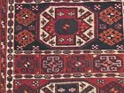 Vintage hand knotted wool tribal rug S Antique veg dyed wool runner 95x36