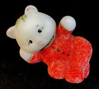 Fenton Art Glass PJ Babies Reclining Bear HP Red Pajamas  Sparkling Gilitter