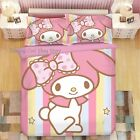 My Melody Anime Cute Cotton Bed Sheet Quilt Cover Pillow Case 3PCS 4PCS Set Gift