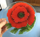 Vintage Signed  Dated Fused Art 725 Glass Plate Red Oriental Poppy