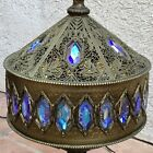 Vintage Mid Century Hollywood Regency Moroccan Table Lamp Iridescent Glass Prism