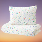 IKEA MJLIGHET Quilt cover and pillowcase white mosaic patterned150x200 50x80cm