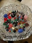 Rare vintage carved glass  rhinestone large lot jewelry repair parts craft ONS