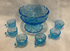 Westmoreland Thumbelina Glass Mini Childrens Light Blue Punch Bowl  6 Cups