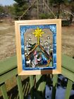 Nativity Stain Glass Look Art Glass Open Windows Panel 17 X 14 STAR BabyJesus