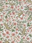 Fabri Quilt Fabric Mini Jungle Tigers Calico Pink Flowers on Beige 3 1 2 Yards